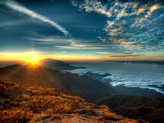 7 Maravilhas do Vale - Fotógrafo registrou pôr-do-sol no Pico dos Marins em Piquete (SP) (Foto: Arquivo Pessoal/Ricardo Martins)