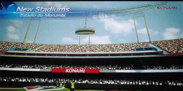 Holofotes do estádio do Morumbi foi recriado pela Konami para o game. Além dele, jogo tem a Vila Belmiro, do Santos (Foto: Gustavo Petró/G1)