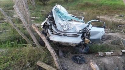 Carro após colidir em árvore na BR-424 (Foto: Polícia Rodoviária Federal/Divulgação)