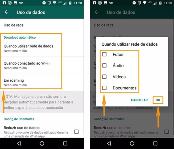 Remova as fotos, vídeos e mais mídias para não fazer download automático no Android (Foto: Reprodução/Barbara Mannara)