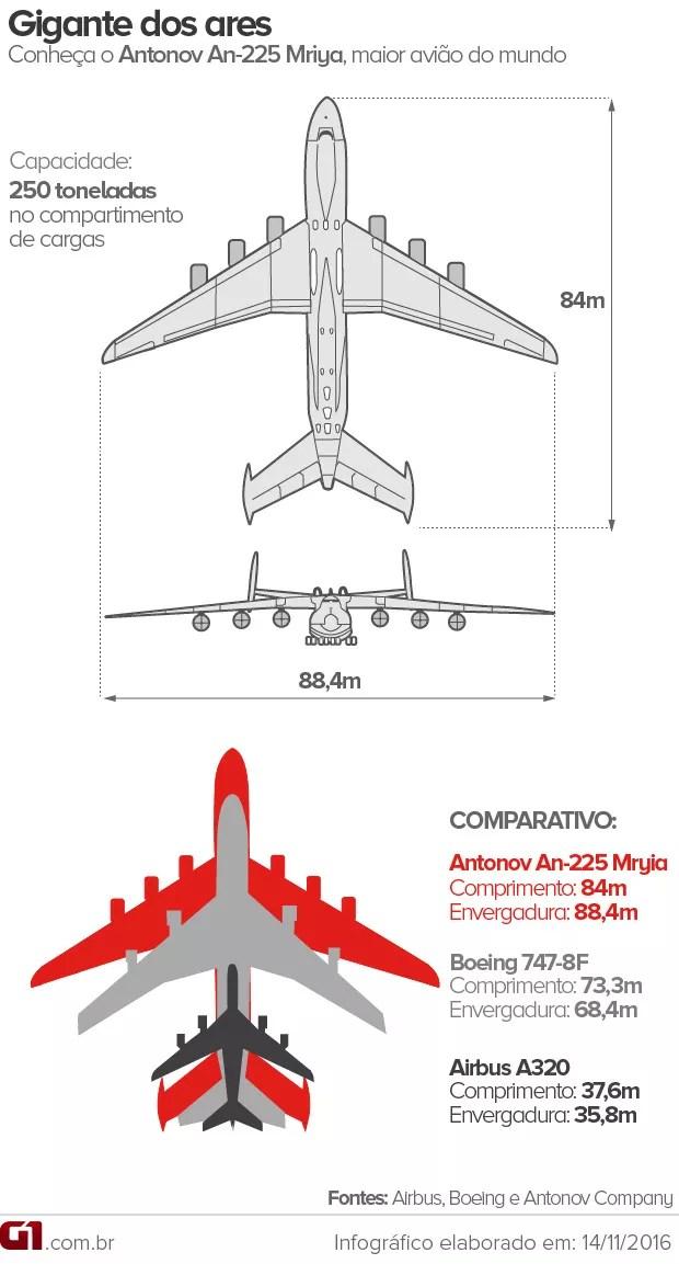 Veja a relação do tamanho do Antonov, o maior avião do mundo, com outras aeronaves (Foto: Arte / G1)