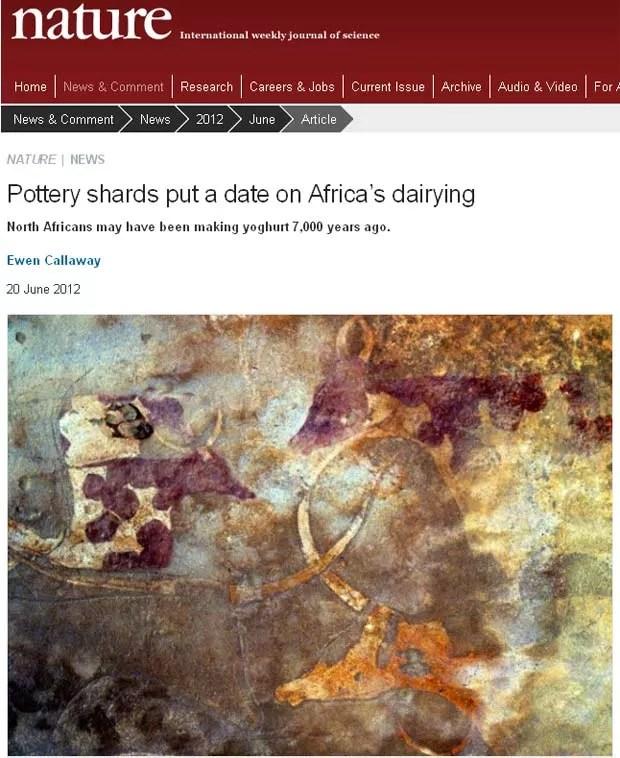 Reportagem da 'Nature' mostra fragmentos de cerâmica de até 5.000 a.C. que foram analisados na pesquisa (Foto: Reprodução)