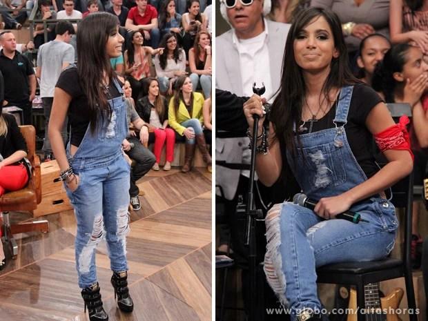 Anitta opta por usar um macacão mais comportado no programa (Foto: TV Globo/Altas Horas)