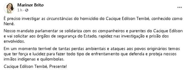 Deputada cobre respostas sobre assassinato de cacique no Pará. — Foto: Reprodução / Facebook