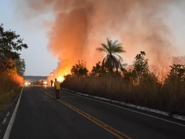 Incêndios começaram no final de semana e são combatidos por brigadistas na região de Chapada dos Guimarães, em Mato Grosso (Foto: Luiz Gustavo Gonçalves/ICMBio)
