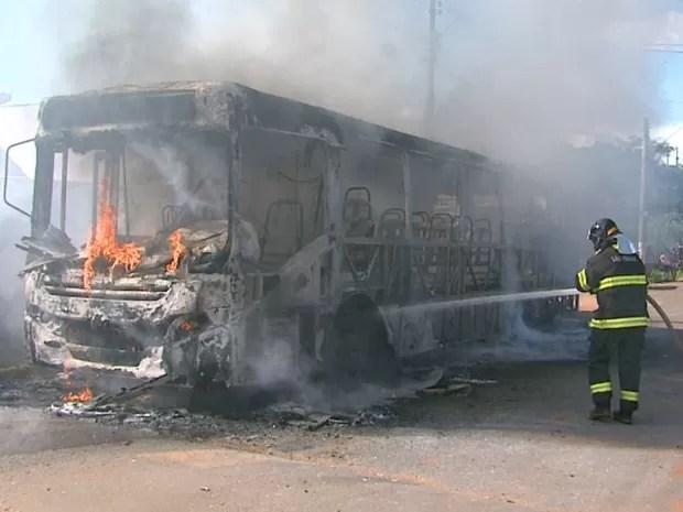 Ônibus é incendiado após atropelamento de jovem em Leme (Foto: Reginaldo dos Santos/EPTV)