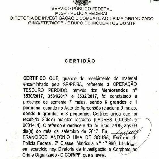 Polícia Federal em Brasília afirma ter recebido menos malas que o total apreendido no bunker de Geddel em Salvador (Foto: Reprodução)