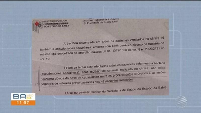 Laudo aponta infecção por bactéria (Foto: Reprodução/TV Santa Cruz)