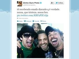 O cantor Dinho Ouro Preto também publicou foto com o artista. (Foto: Reprodução/Twitter)