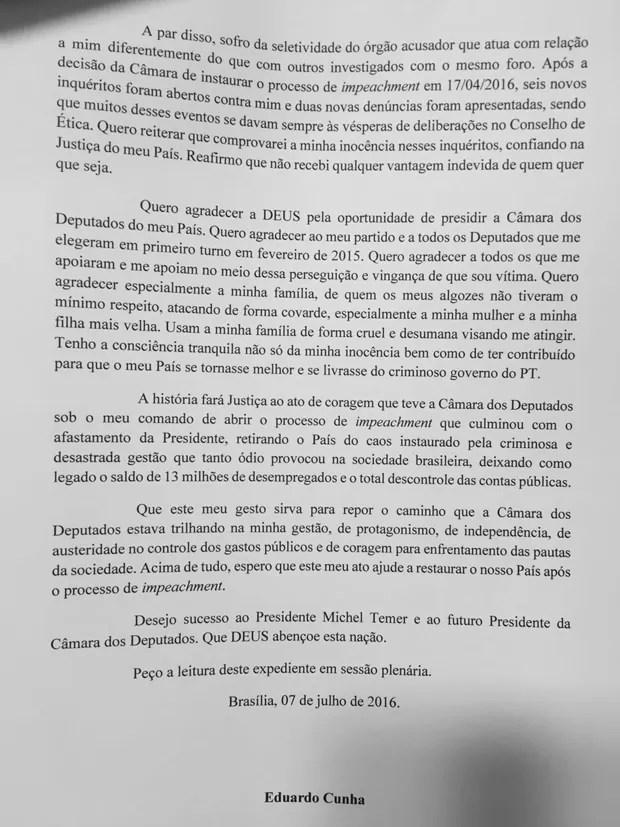 Segunda página da carta de renúncia de Eduardo Cunha (Foto: Reprodução)