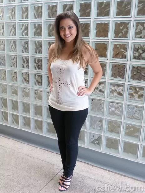 Polliana Aleixo engordou 7kg (Foto: Encontro com Fátima Bernardes/TV Globo)