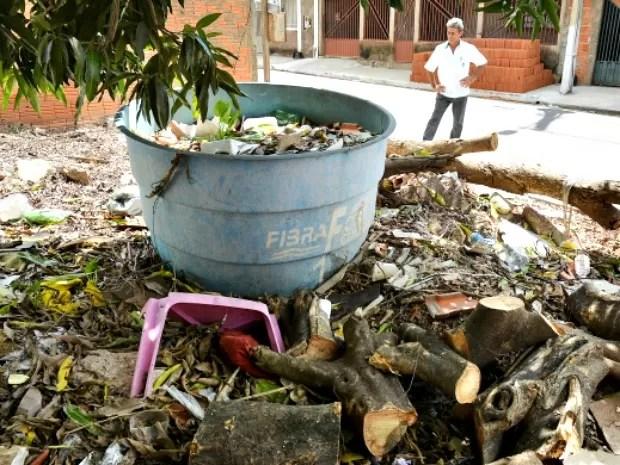 Fiscais encontraram criadouros do mosquito em imóveis no Pedra 90 (Foto: Tchélo Figueiredo/Secom-Cuiabá)