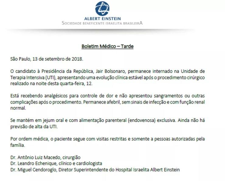 Boletim médico de Jair Bolsonaro divulgado no início da noite desta quinta-feira (13) — Foto: Reprodução