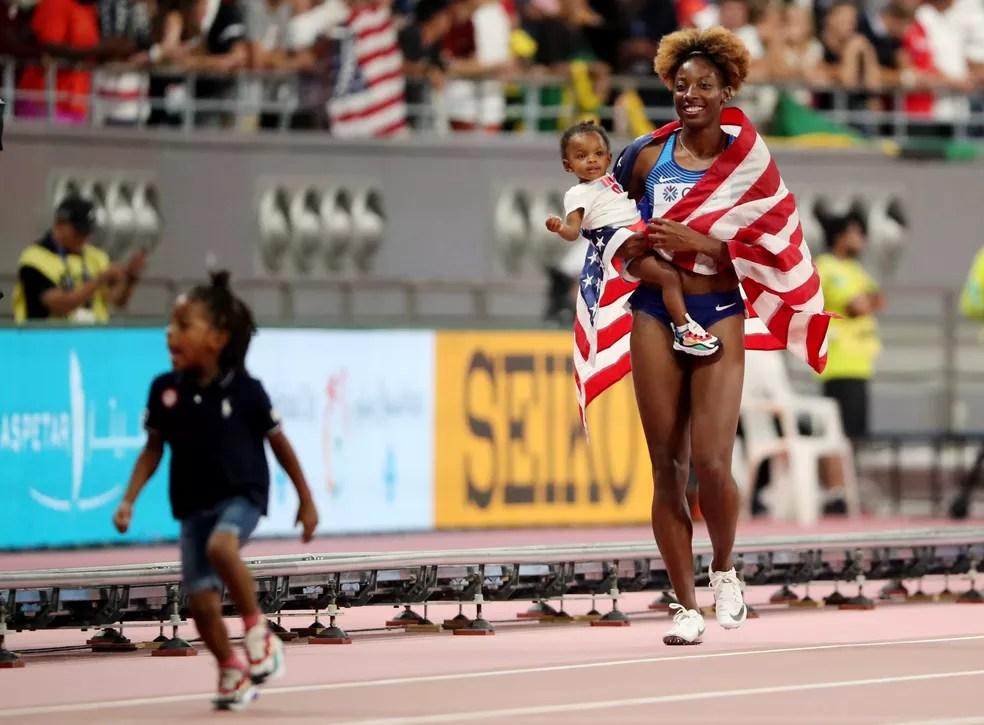 Nia Ali 100m com barreira Mundial de Atletismo — Foto: Lucy Nicholson/Reuters