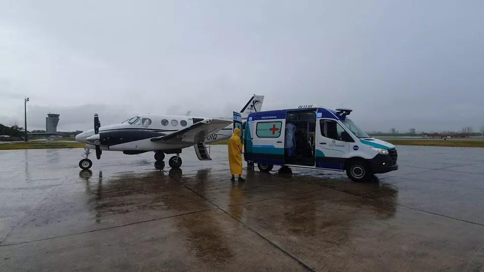 Voo particular transportou paciente de Rondônia até o Aeroporto de Vitória — Foto: Helio Filho/Secom ES