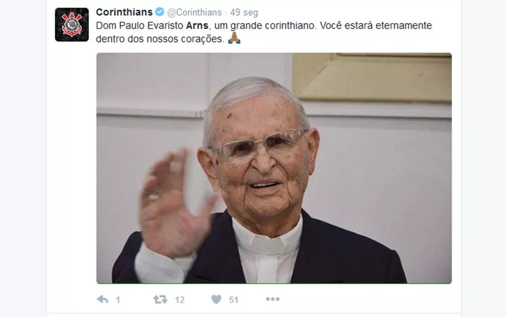 Sport Clube Corinthians Paulista presta homenagem a Dom Evaristo Arns (Foto: Reprodução/Twitter)