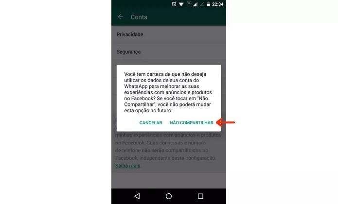 Confirmação da desvinculação do WhatsApp com o Facebook (Foto: Reprodução/Raquel Freire)