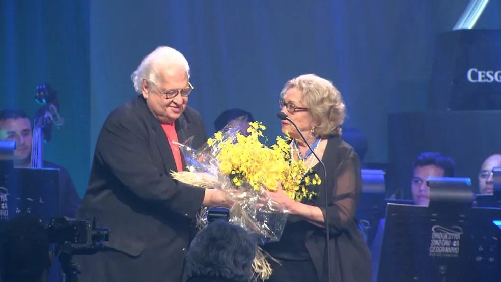 Eva Wilma foi homenageada no Prêmio Cesgranrio de Teatro, no Copacabana Palace — Foto: Reprodução/ TV Globo