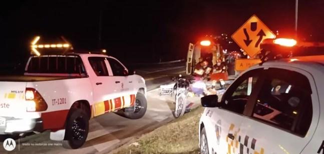 Acidente entre duas motos deixa dois feridos na Rodovia Raposo Tavares em Mairinque — Foto: Rafael Barros/Arquivo pessoal