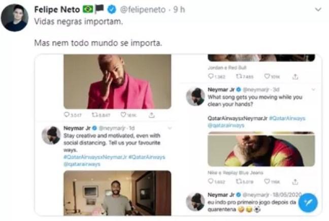 O post original de Felipe Neto sobre Neymar Jr., apagado  (Foto: Reprodução/Twitter)