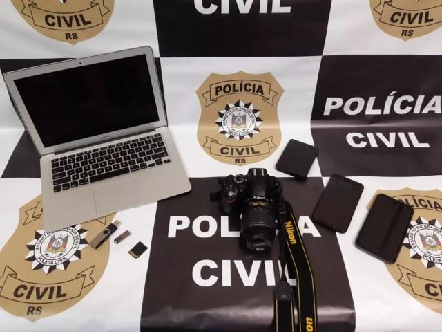 Equipamentos foram apreendidos durante cumprimento de mandado de busca no apartamento do suspeito — Foto: Divulgação/Polícia Civil
