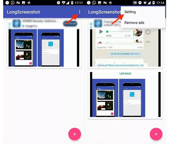 Ação para acessar as configurações do aplicativo LongScreenshot