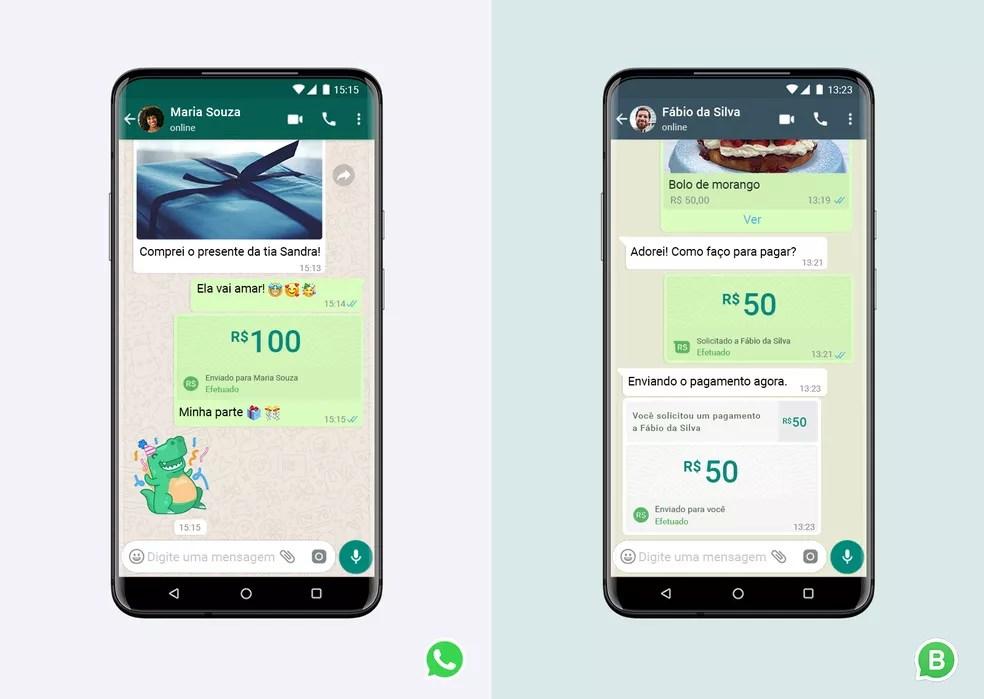 Função de pagamentos do WhatsApp foi barrada pelo Banco Central e Cade em julho passado, mas app busca liberação. — Foto: Divulgação/WhatsApp