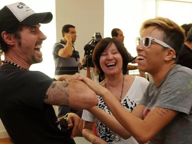 Dinho Ouro Preto e Maria Gadu em entrevista coletiva sobre o Rock in Rio (Foto: Alexandre Durão/G1)