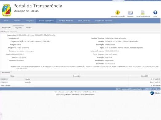 Portal da Transparência de Caruaru mostra anulação do cachê de Wesley Safadão (Foto: Reprodução/Portal da Transparência)