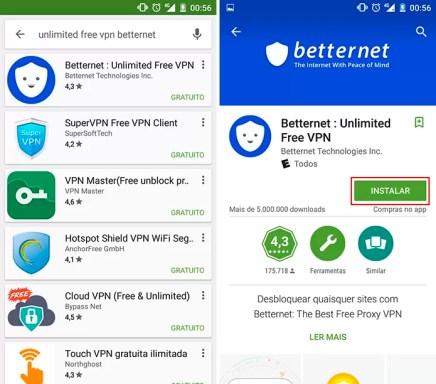 Betternet é um aplicativo para Android e iOS que altera VPN e faz WhatsApp funcionar (Foto: Reprodução/Elson de Souza)
