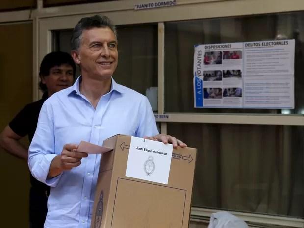 Mauricio Macri, candidato da oposição, durante votação neste domingo em Bueno Aires