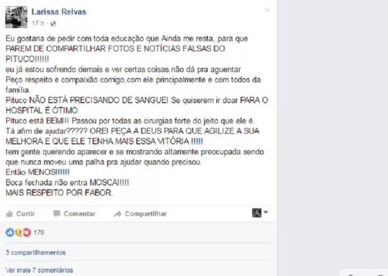 Namorada pediu respeito nas redes sociais (Foto: Facebook/Reprodução)
