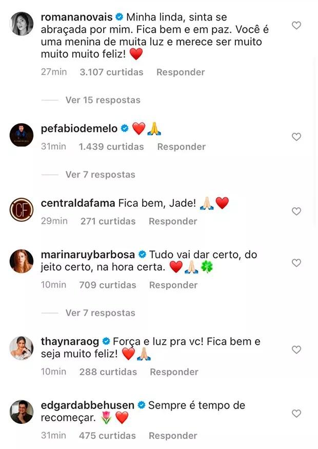 Famosas apoiam Jade (Foto: Reprodução/ Instagram)