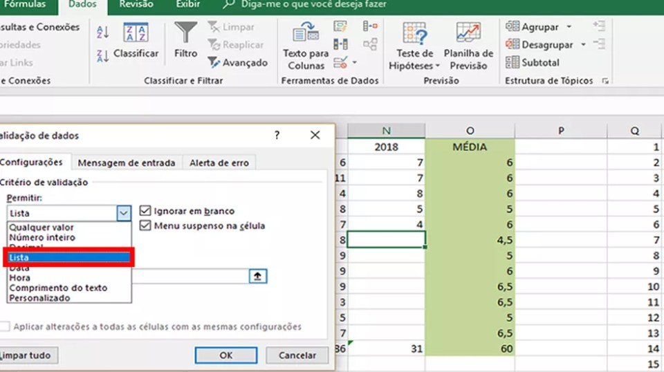 """Clique na opção """"Lista"""" do Excel na caixa de seleção da janela que será aberta (Foto: Reprodução/Daniel Ribeiro)"""