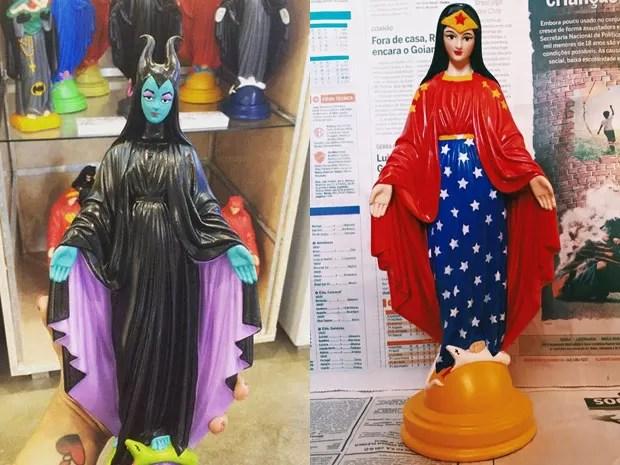 Imagens de Nossa Senhora que ganharam versão estilizada em loja de Brasília (Foto: Ana Smile/Divulgação)