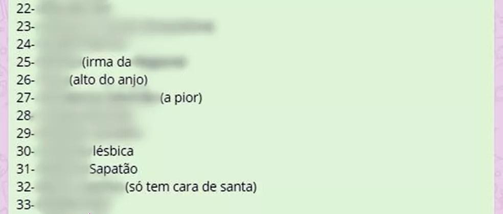 Lista atribuiu adjetivos pejorativos às moradoras (Foto: Reprodução/WhatsApp)