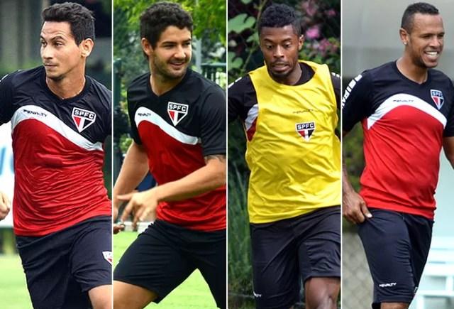 Montagem Ganso, Michel Bastos, Pato e Luis Fabiano, do São Paulo (Foto: Globoesporte.com)