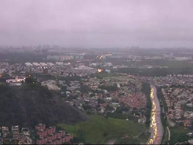 Tempo estava nublado nesta terça-feira (7) no Rio (Foto: Reprodução/ TV Globo)
