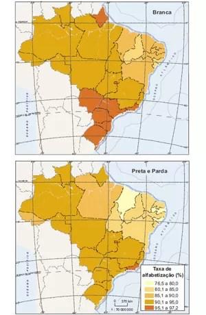 Mapa Brasil Alfabetização (Foto: Divulgação/IBGE)