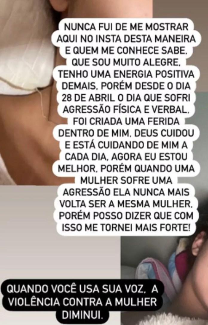A filha da mulher, uma adolescente de 15 anos, levou um soco no rosto, golpe dado pelo ex-campanheiro da gestante — Foto: Instagram / reprodução