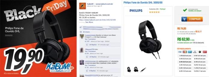 Kabum se confunde e mostra preço no Facebook diferente do preço na loja virtual (Foto: Reprodução/Facebook/Kabum)