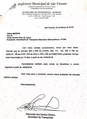 Ofício foi assinado pelo secretário de Transportes (Foto: Reprodução)