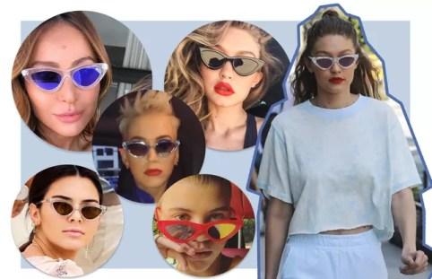 Resultado de imagem para óculos gatinho 2018 look