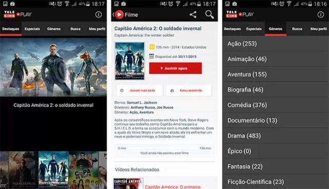 Telecine Play tem diversos títulos em HD para usuários assistirem pelo celular ou tablet (Foto: Reprodução/Barbara Mannara)