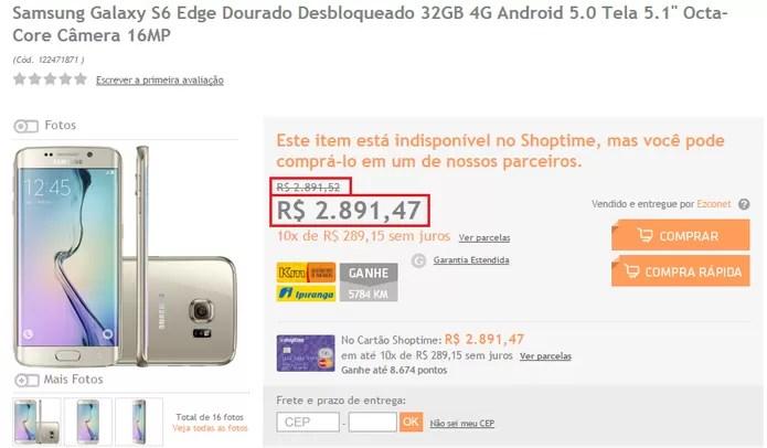 Galaxy S6 Edge tem preço reduzindo em 5 centavos (Foto: Reprodução/Isabela Giantomaso)