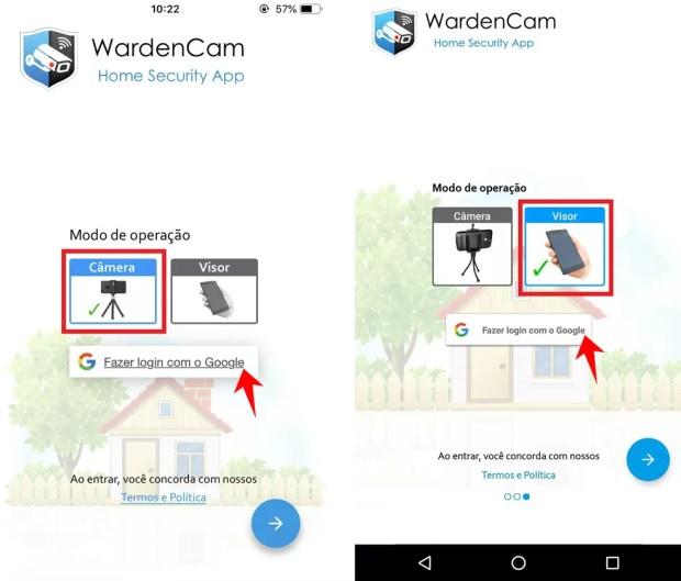 WardenCam precisa ser instalado em dois celulares para transmitir imagens — Foto: Reprodução/Rodrigo Fernandes