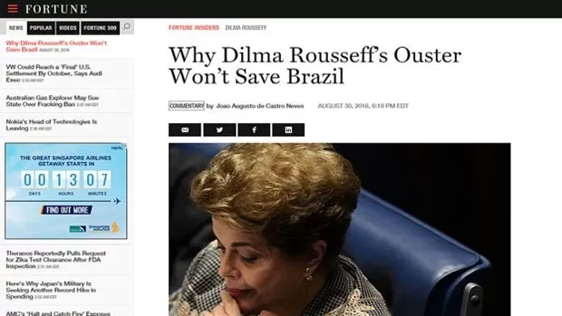 """O impeachment irá solucionar meses de crise aguda no país? Para consultor brasileiro ouvido por revista, a """"resposta curta é não"""" (Foto: Reprodução)"""
