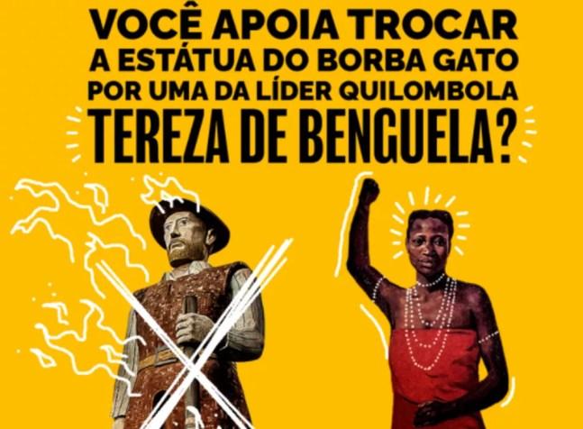 Vereadora propõe trocar estátua do bandeirante Borba Gato por uma da líder quilombola Tereza de Benguela — Foto: Reprodução
