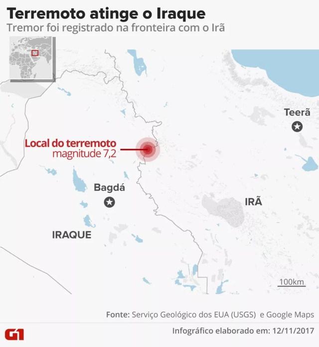 Mapa de terremoto no Iraque (Foto: Alexandre Mauro/G1)