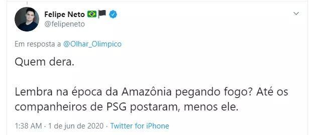 Felipe Neto sobre Neymar (Foto: Reprodução/Twitter)